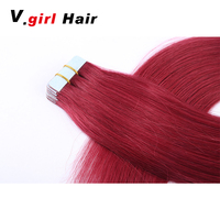 V.Girl Hair Tape Hair Extensions Remy Straight Human Hair 16 24 inches color 4 14 613 red PU Skin Weft Tape Extensions