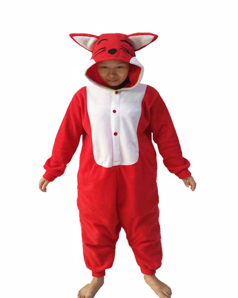 Cartoon Red Fox Winter Animal Pajamas Whole Novel Unisex Costume Cosplay Halloween Nightgowns Women Sleepwear Long Sleeve