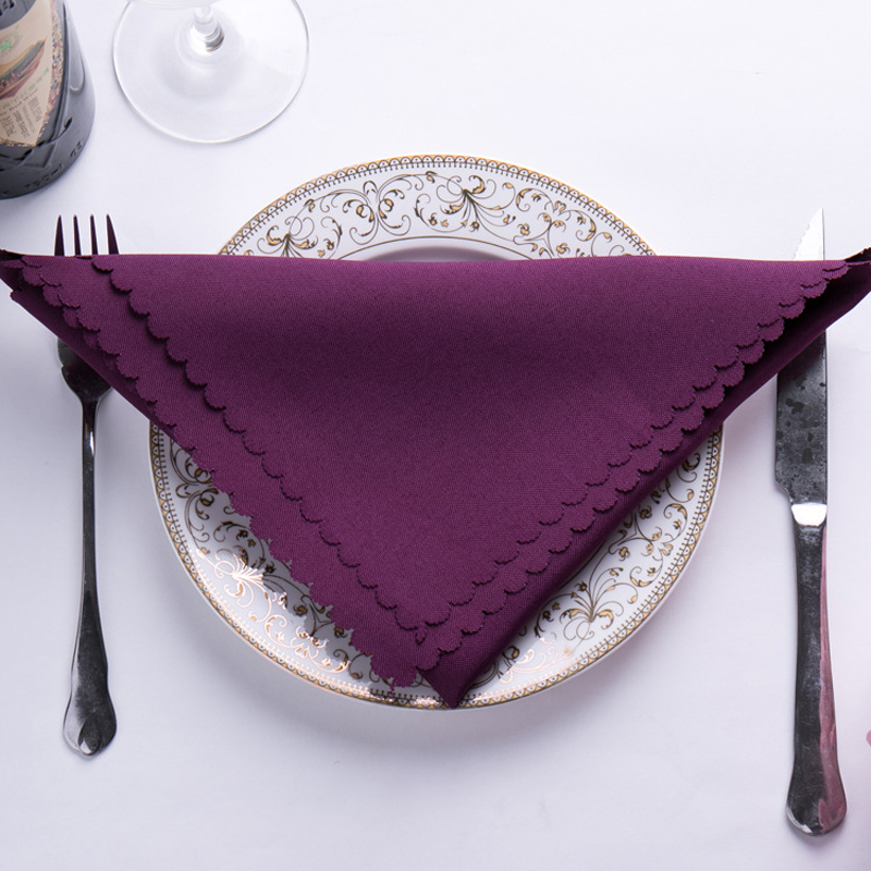 6pc 46x46cm Dinning Table Napkins Wedding Table Napkins Cloth Classical Plain Color Polyster Wedding Table Decoration Purple