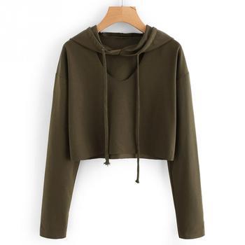 Long Sleeve V Cut SHORT STYLE Sweatshirt Hoodie