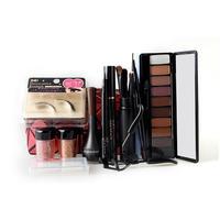 Christmas Makeup Set Eye Shadow Palette Fake Eyelashes Curler Brush Mascara Eyeliner Eyebrow Pencil Silicone Puff