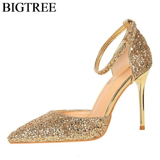 BIGTREE Gold Glitter Wedding Shoes Sexy Pointed Toe Sequined Bling Party  Shoes Woman Buckle Strap Sandals