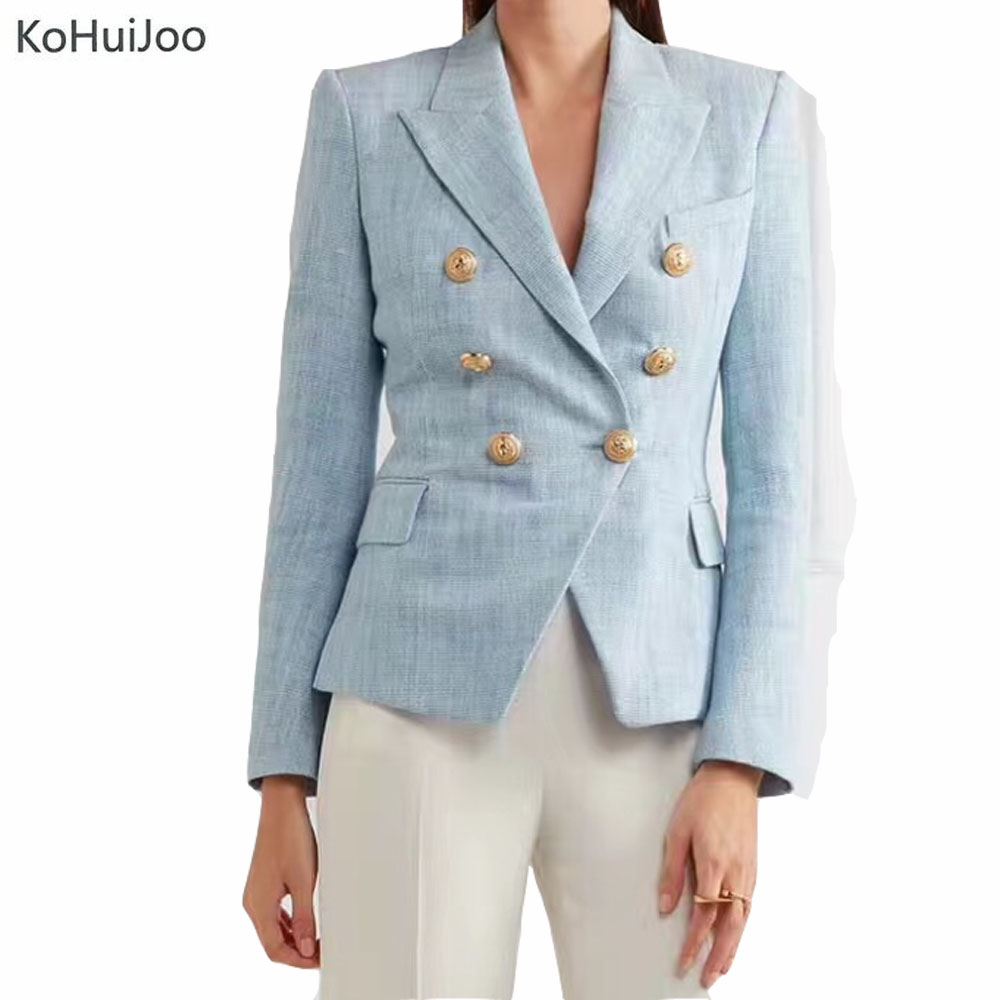 KoHuiJoo Autumn New Women's Blazers Long Sleeve Slim Button Formal Jacket Female Sky Blue Women Suit Office Blaser Ladies Coat