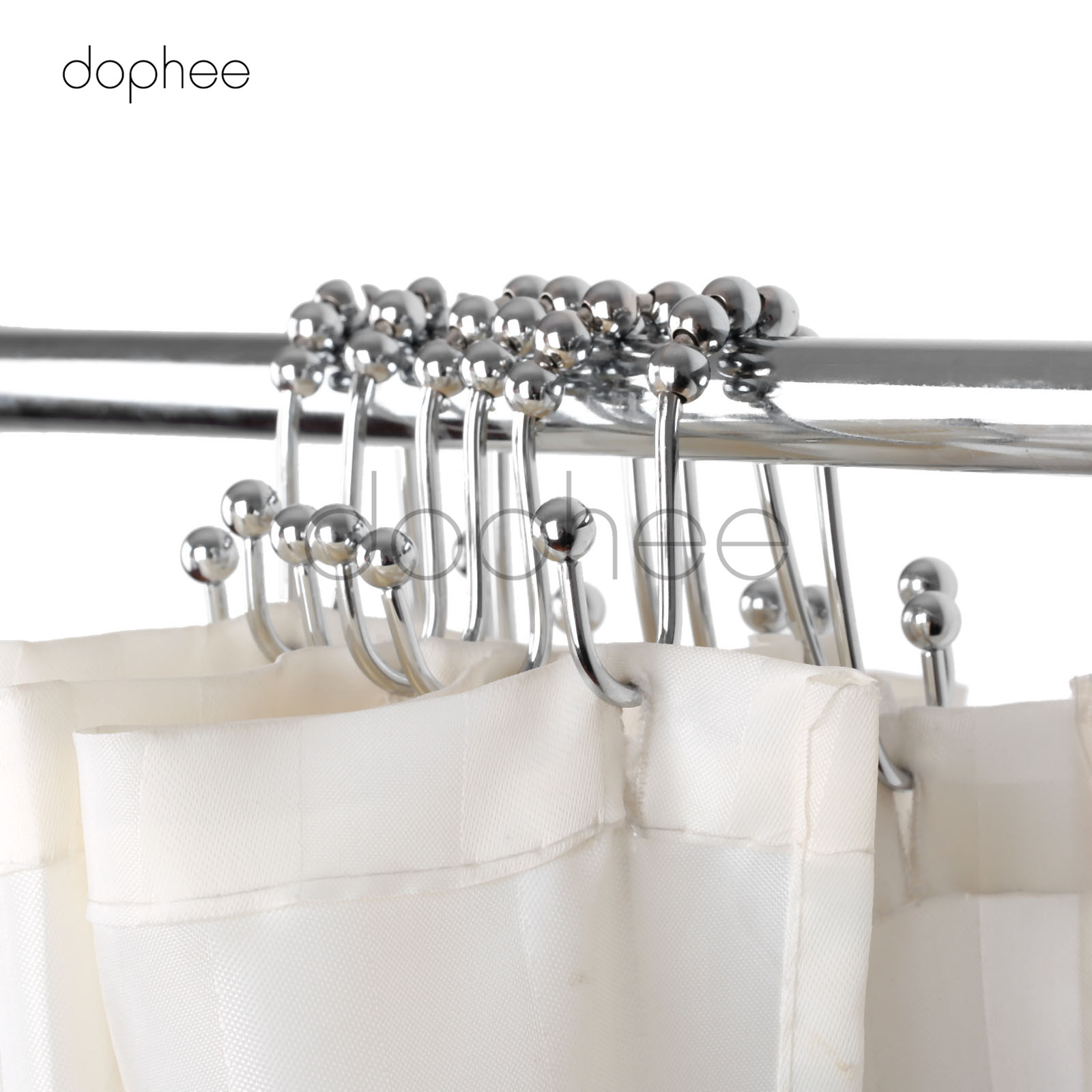 Us 9 54 36 Off Dophee 12pcs Bow Shaped Glide Shower Curtain Hooks Stainless Steel 5 Brass Roller Balls Double Hooks Curtain Decoration In Bathroom