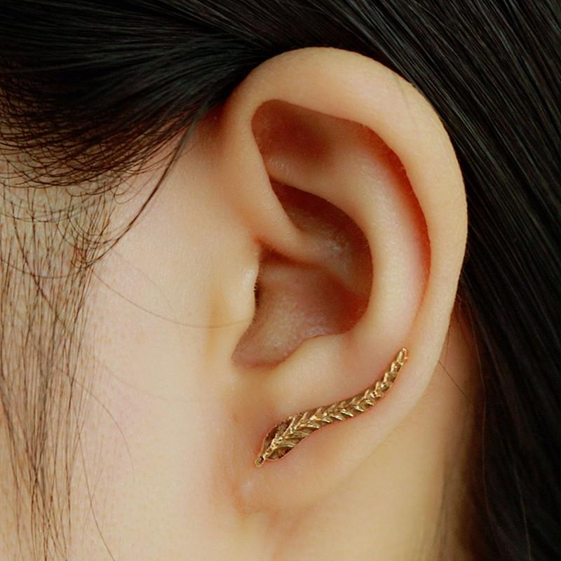 HTB1LVqENXXXXXXfapXXq6xXFXXXZ Golden | Silver Leaf Feather Stud Earrings For Women
