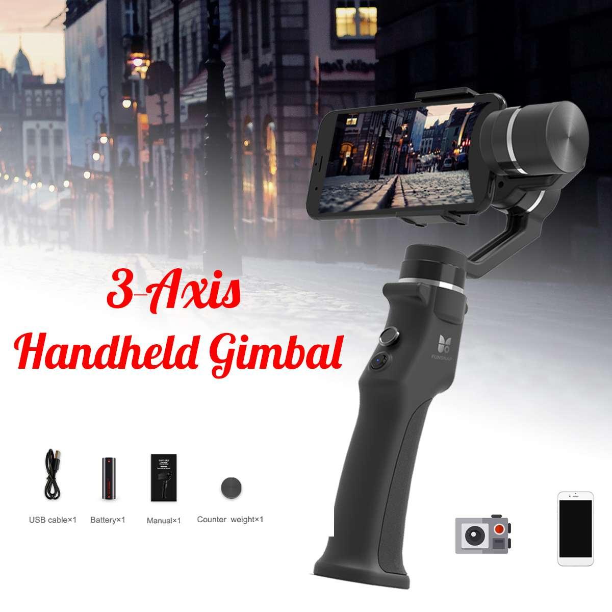 Offre spéciale Funsnap Capture stabilisateur de cardan à main 3 axes avec sac de transport pour Smartphone pour GoPro pour SJcam pour caméra Xiao Yi