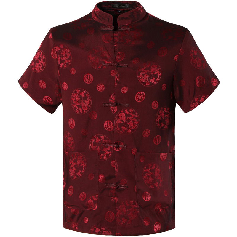 2017 Spring Autumn Features Shirts Men Casual Chinese Traditional Short Sleeves Tang Shirt Male Shirts L900