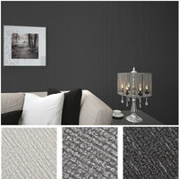 Modern PVC Solid Color Embossed Wallpaper Textured Vintage Grey Vertical Stripes Wall Paper For TV Background