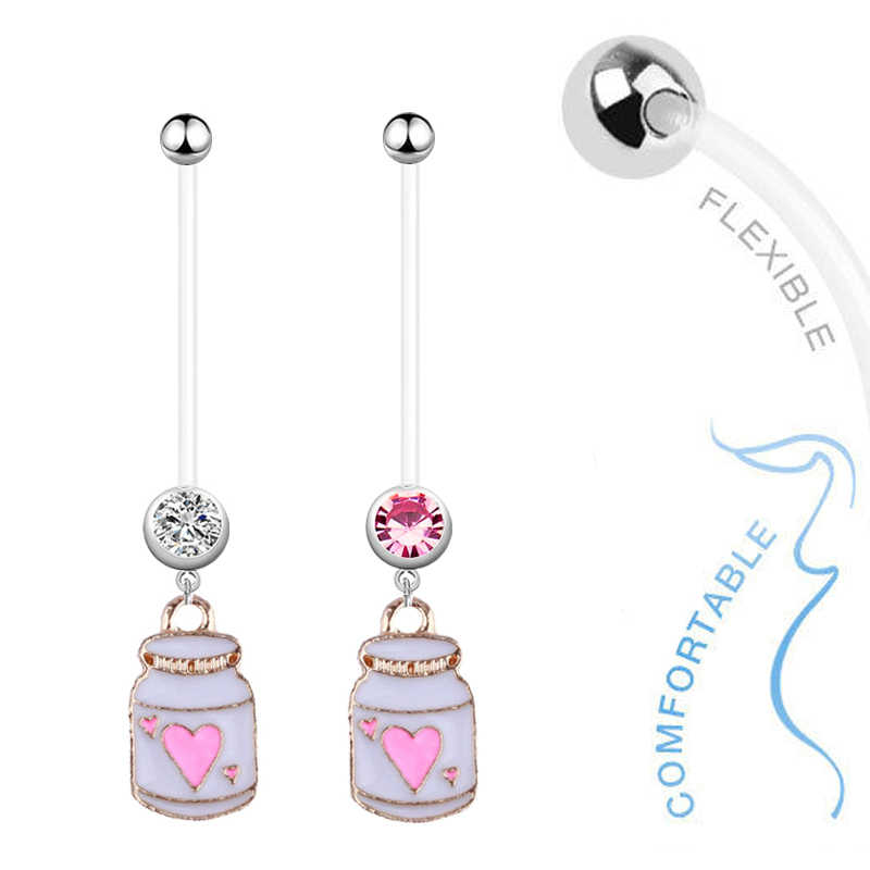 1pc Cute Pink Bottle Belly Button Rings Bioplast Navel Belly Ring Crystal Earrings In Navel Pregnant Woman Body Piercing Jewelry