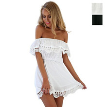 2016 Summer New Brand Casual Fashion Elegant Sexy Loose Slash Neck Lace Black White Women Beach Dress Evening Party Mini Dress