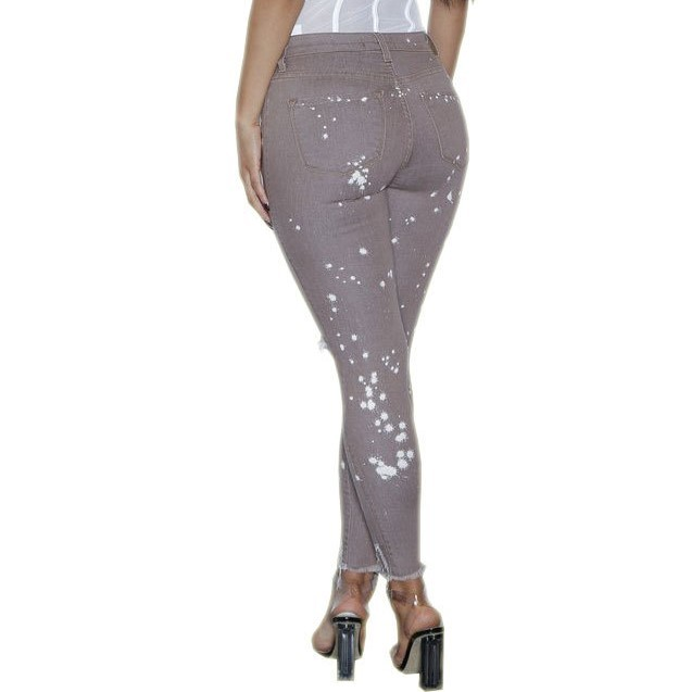 Jeans Casual Pants Skinny Knee Hole