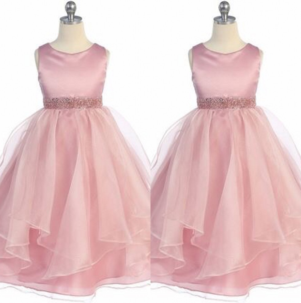 Cute   Girls     Dress   Scoop A-Line Floor Length Pearl Crystal Beaded Ribbon Sash Organza   Flower     Girls     Dresses   Little   Girl   Party Gowns