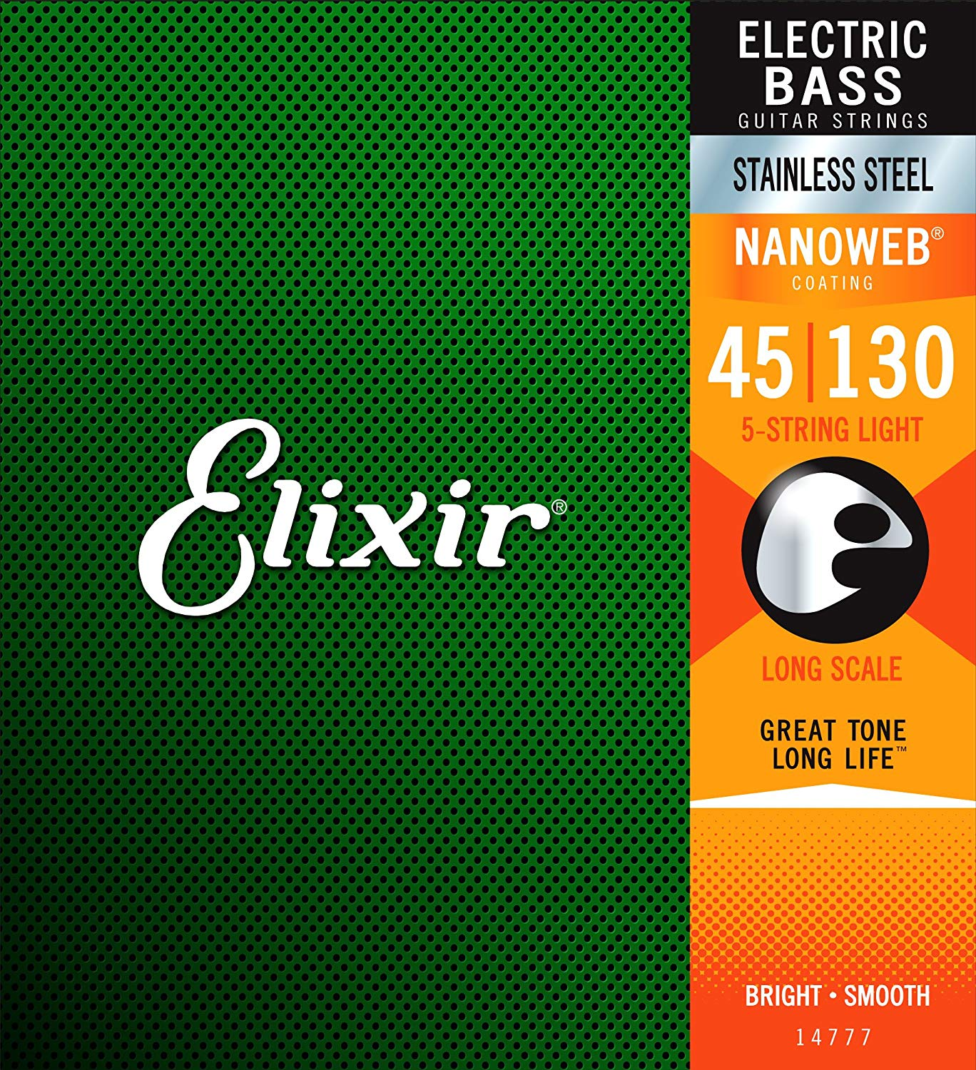 Elixir Strings 14777 Stainless Steel 5-String Bass Strings w NANOWEB Coating, Long Scale, Light (.045-.130) rotosound rs66lh bass strings stainless steel
