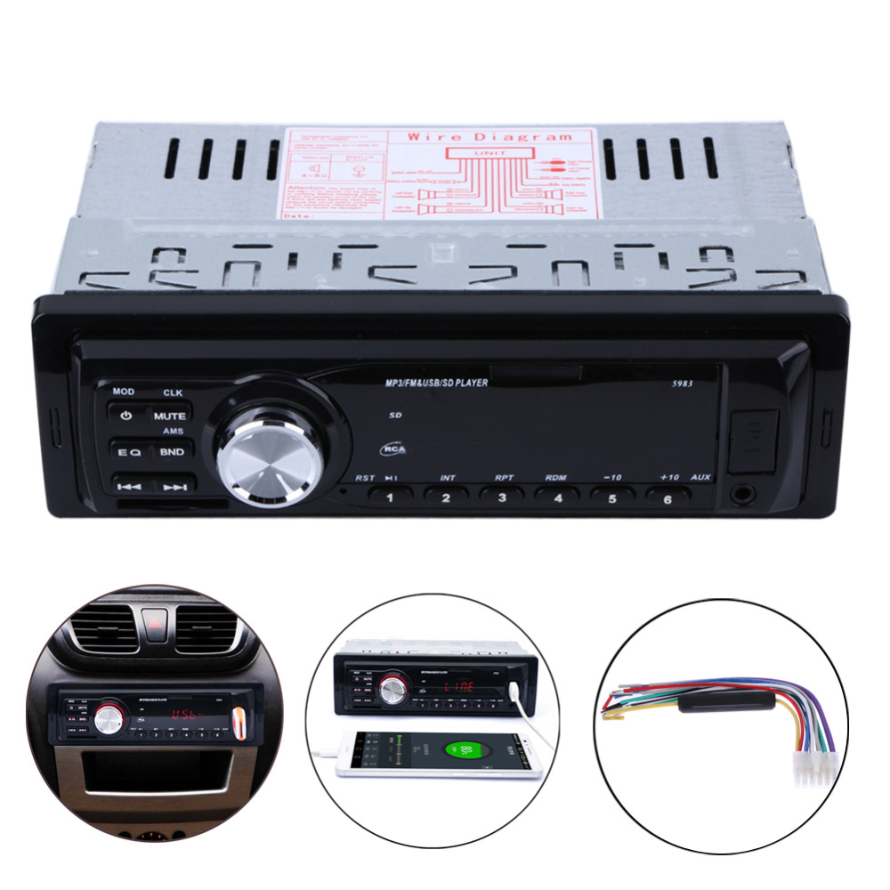 1 Din Car Auto Radio Audio Stereo MP3 Player In-Dash 5983 Support FM SD AUX USB 4-Channel For Vehicle FM Stereo Radio MP3 Player motoqueen 35w 4 motor vehicle speakers dirt bike mp3 player fm radio atv motorcycle audio mp3 system