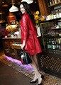 HNW003 Mujeres cazadora de Cuero de piel de Oveja Genuina del manguito de cuello de un solo pecho chaquetas abrigos/2 tamaño del color 5/China famosa marca