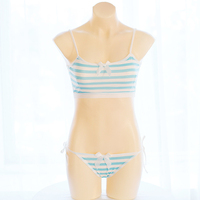 Cute Japanese Anime Style Blue White Stripe Camisoles Set Lolita Crop Top Sexy Ladies Top Lingerie
