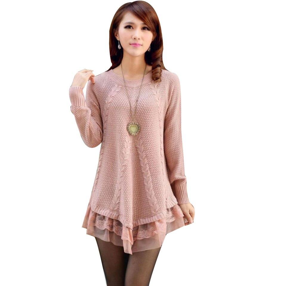 ୧ʕ ʔ୨Encaje mujeres suéter vestido de gran tamaño de manga larga ...