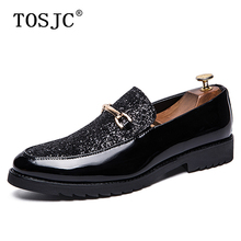 TOSJC Fashion Mens Loafers Brand Paillette Bling Sequins Wedding Shoes for Adult Casual Male Dresses Oxford Shoe Mocassin Homme