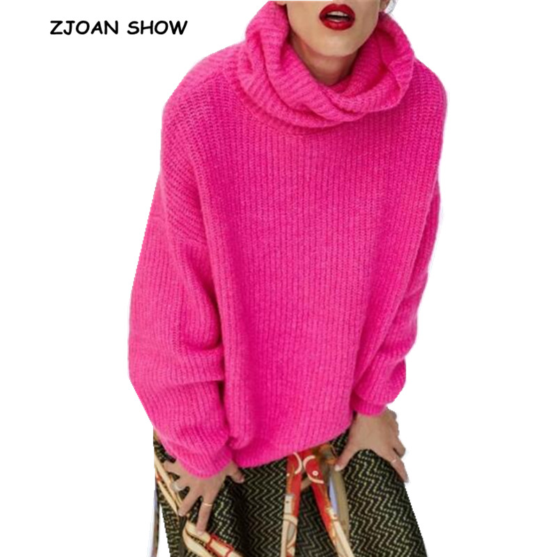 Stylish Striped Line Fluorescent Hot Pink Pullover Sweater 2018 Autumn Women Turtleneck Long Sleeve Long Knitwear Jumper Tops