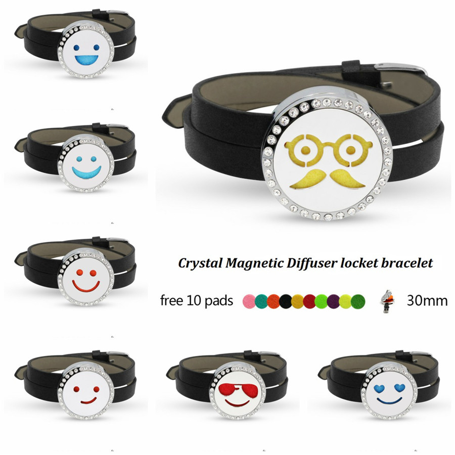 Cute smiling face Cool Sparkling Perfume Diffuser locket bracelet 316 L Stainless Steel Locket wrap Bracelet magnetic 10 Pads