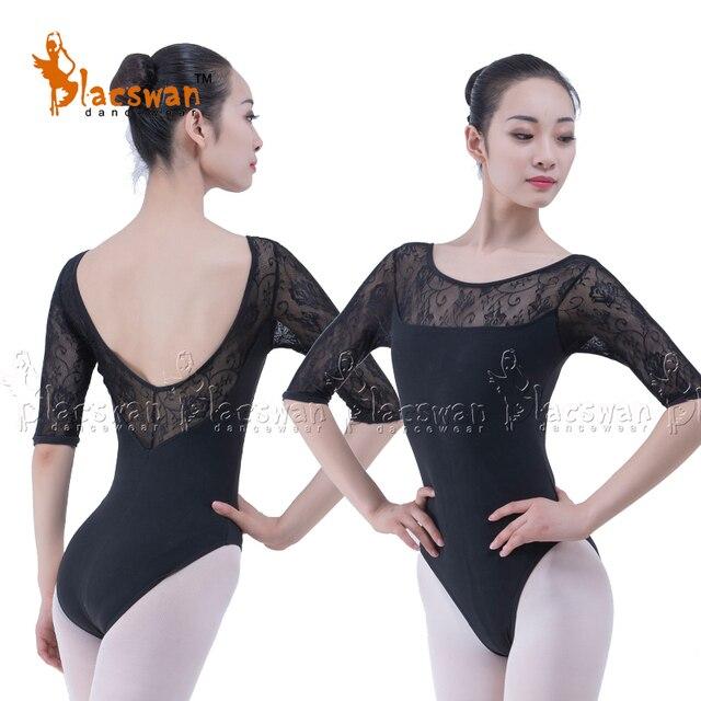 60604585b2 Medias mangas de encaje leotardos Ballet danza leotardo uniforme bailarina  ropa negro forro delantero Leotard del