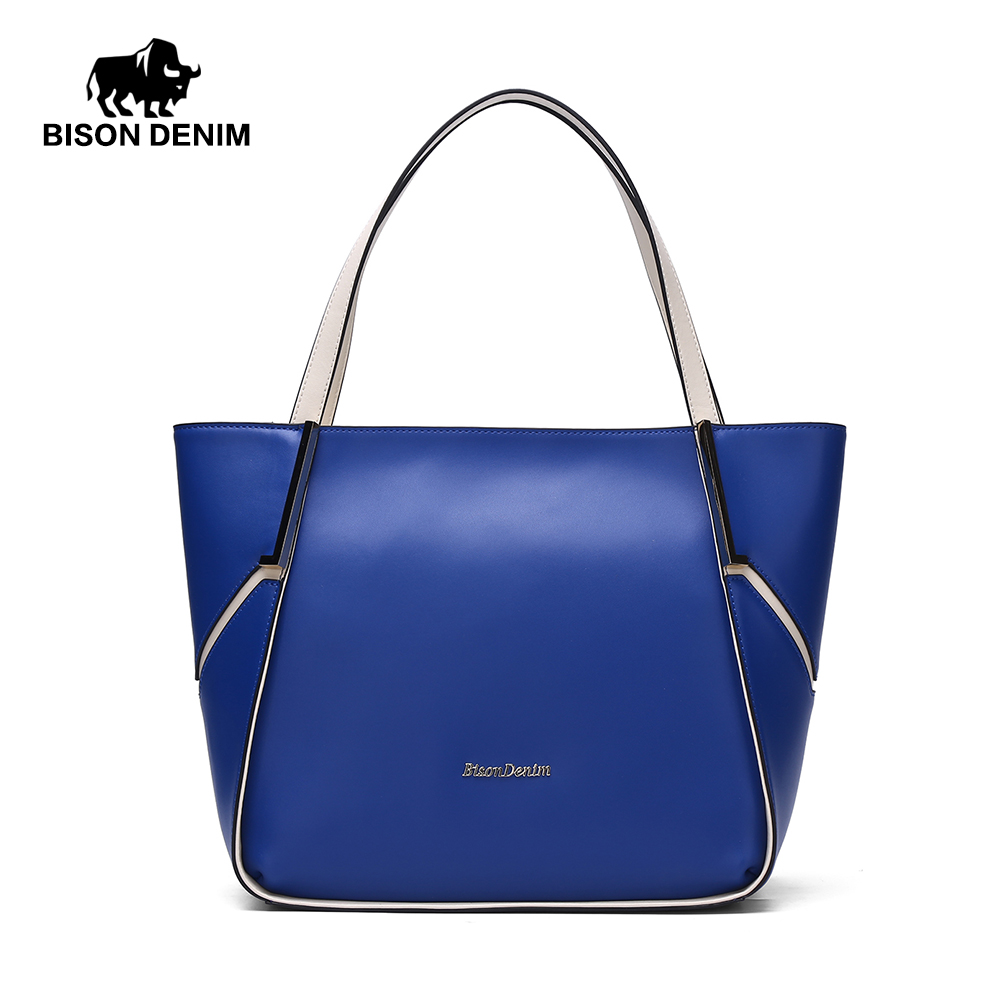 BISON DENIM Genuine Leather Women Shoulder Bag Brand Designer Cowhide Casual Large Capacity Tote Crossbody Bags N1184 [whorse] brand high quality women genuine leather shoulder bags cowhide ladies casual tote bag large capacity wa5054 7