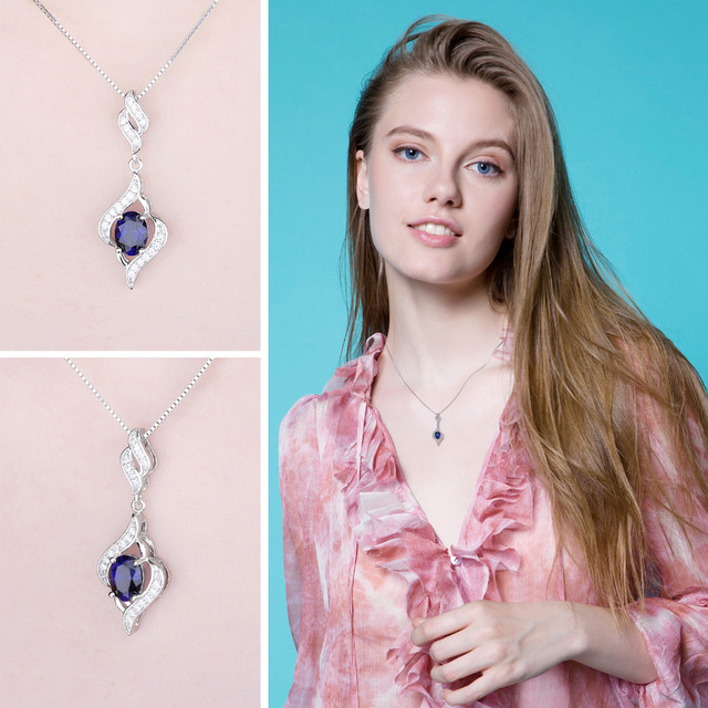 1.95ct Created Blue Sapphire 925 Sterling Silver Chain Necklaces 2