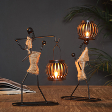 Creative Wrought Iron Candle Holder Little Man Romantic wedding Candlestick Candlelight Dinner Christmas Bar Party Decor
