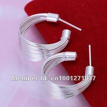 Free shipping E005 925 sterling silver 2015 fashion jewelry earrings for women Multi-line small earrins