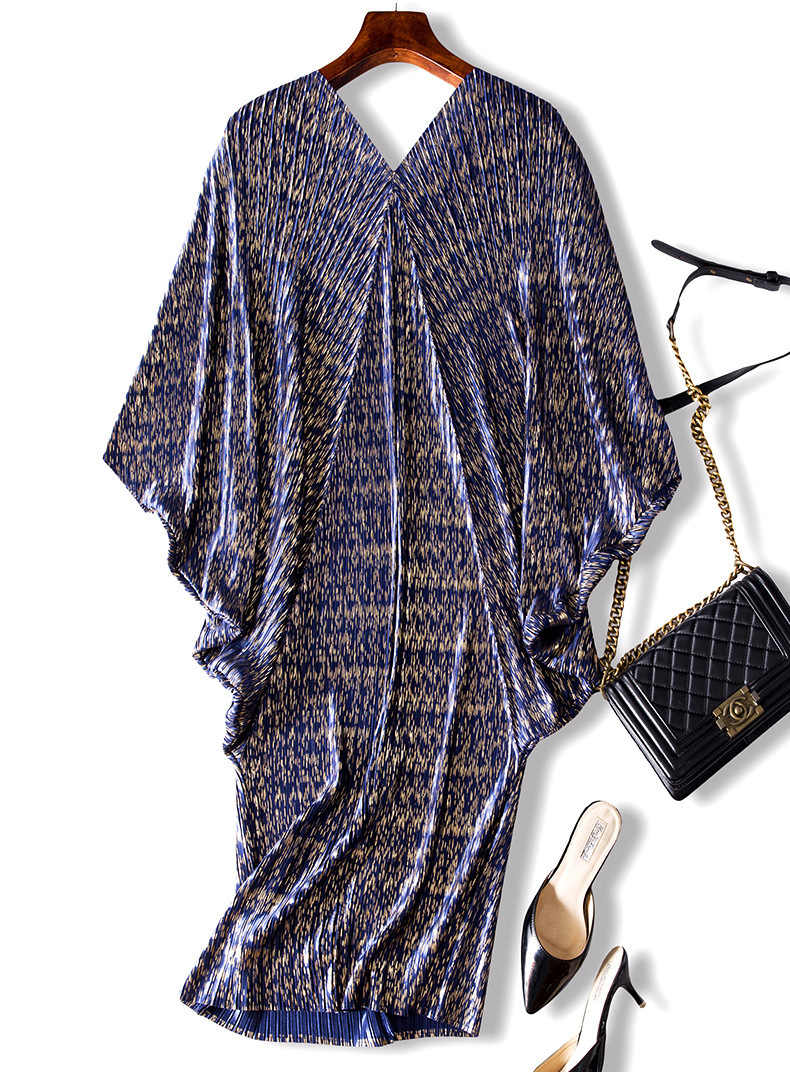 LANMREM 2019 Высокое качество Новая мода V воротник плиссированные рукава летучая мышь свободные большие размеры платье для женщин Одежда с принтом Vestido YE853