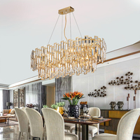 Luxury Crystal Chandelier Lighting Fixture Contemporary Oval Chandeliers Lamp Pendant Hanging Light for Wedding Decoration