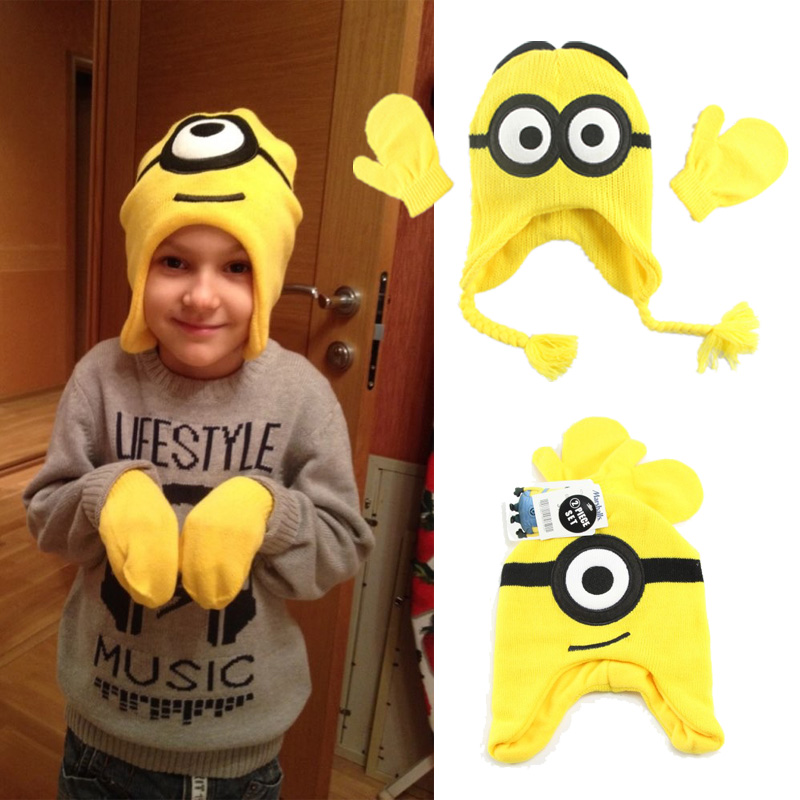 Radom STYLE 1PCS Cartoon Character Children Winter Hat Kids Scarf Gloves & Mittens Boys & Girls Hats & Caps