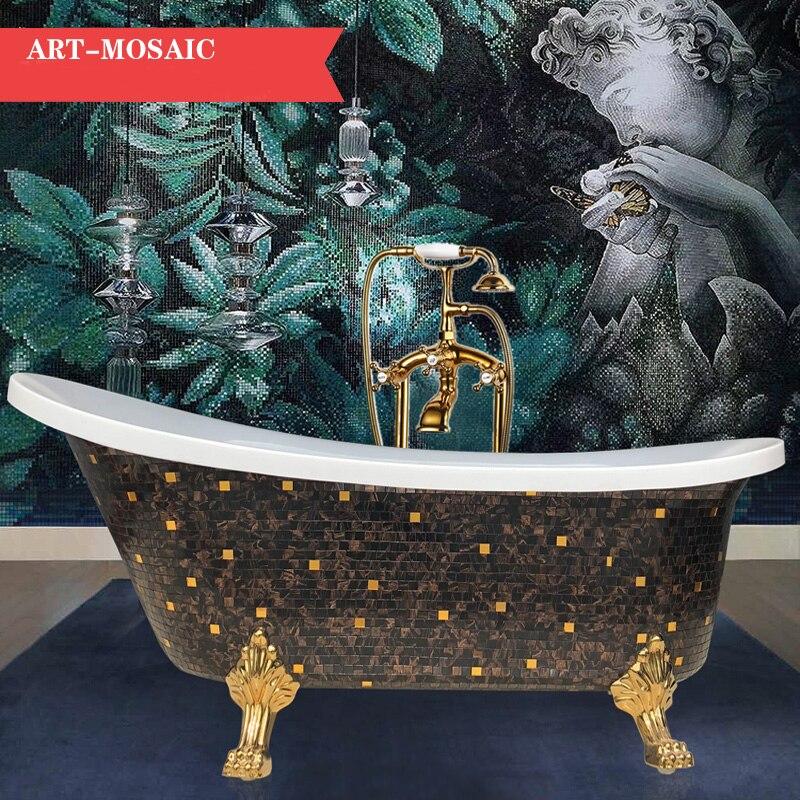Freestanding Bathtub with Brown Mosaic Pattern