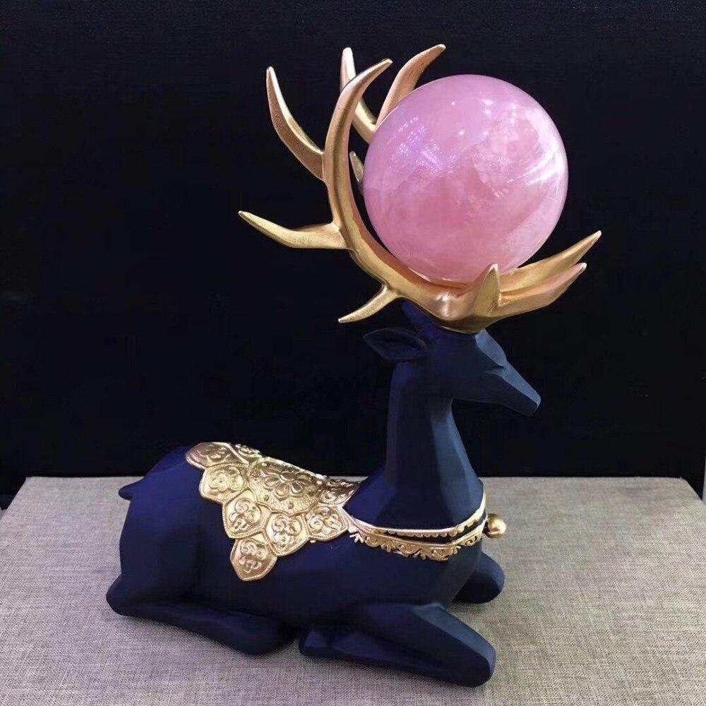 Novo produto natural cristal de quartzo rosa ponto cura reiki bola de energia bola de alce Natal armário do vinho em casa decoração presente