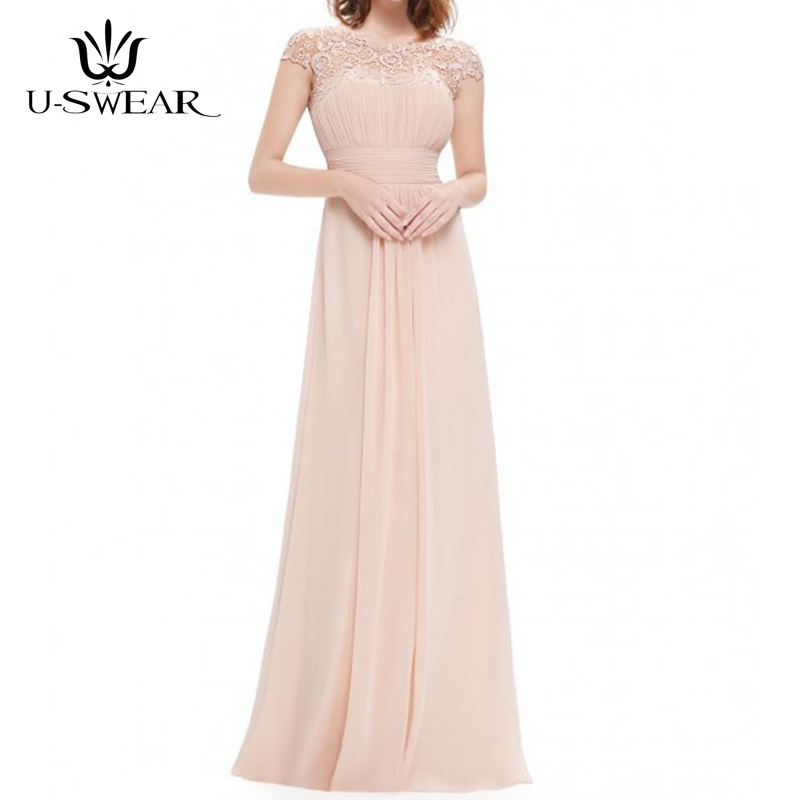 U-SWEAR   Evening     Dress   2019 A-Line Sexy O-Neck Sleeveless Lace   Evening   Party Prom Formal Gowns Long   Dress   Vestidos Robe De Soiree