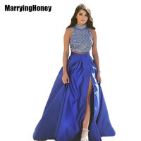 Pearls Two Piece Prom Dresses High Slit Satin Homecoming Dresses Long Beading Crop Top vestido de festa gala formatura marsala