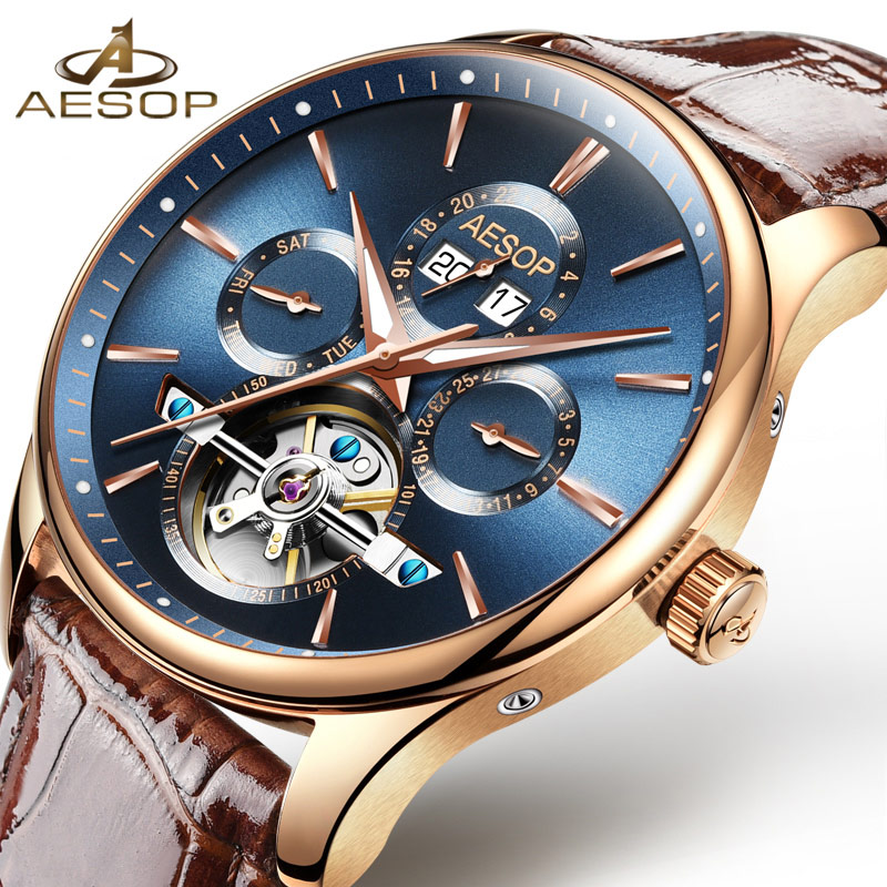 AESOP Brand Fashion Watch Men Automatic Mechanical Wrist Wristwatch Leather Male Clock Relogio Masculino Hodinky 2018 Box New 46 fashion top brand watch men automatic mechanical wristwatch stainless steel waterproof luminous male clock relogio masculino 46