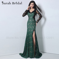 Dark Green Mermaid Prom Dresses With Long Sleeves 2015 Fashionable Beading Crystal Black Lace Evening Gowns