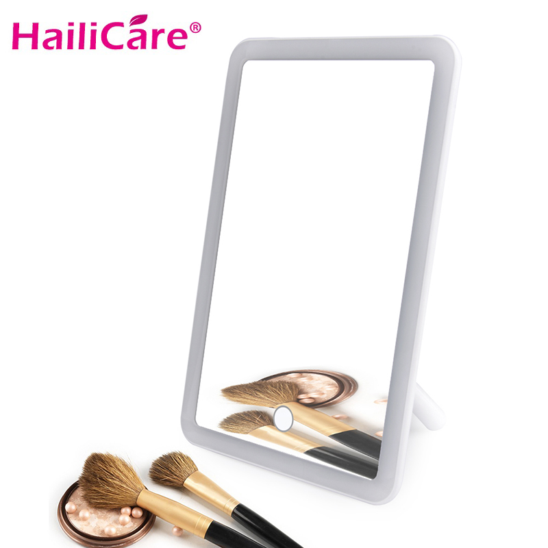 Rechargeable LED Touch Screen Makeup Mirror Professional Vanity Mirror With LED Light Health Beauty Adjustable 180 Rotating