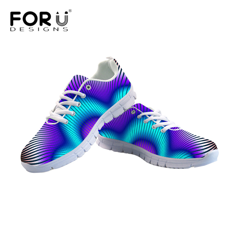 FORUDESIGNS Women Lightweight Flats Casual Color Striped 3D Print Breathable Mesh Sneakers for Ladies Girl Lace-up Shoes Zapatos instantarts casual women s flats shoes emoji face puzzle pattern ladies lace up sneakers female lightweight mess fashion flats