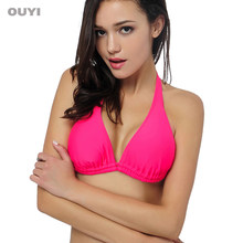 008b7be4d9 OUYI Solid 5 Colors Classic Women Sexy Bikini Top Double Layer Triangle  Swimwear Bra Basic Sunbathe Beachwear Bikini Top 331