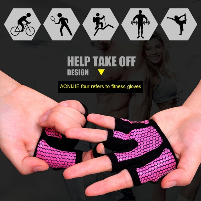 AOLIKES Anti-skid Men & Women Gym Gloves Body Building Exercise Training Sports Fitness Gloves Crossfit 1 Pair