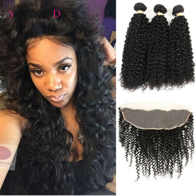 3 Bundles Kinky Curly Bundles With Closure  Curly Hair Bundles With 13x4 Lace Frontals Malaysian curly Hair With Closure