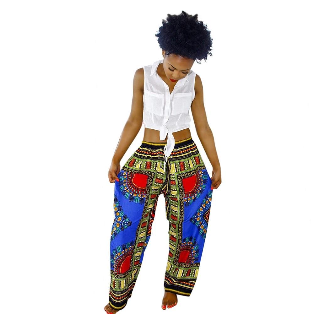Sexy Bohemian Women Pants Totem Printing Casual Pants Dámské Široké nohavice