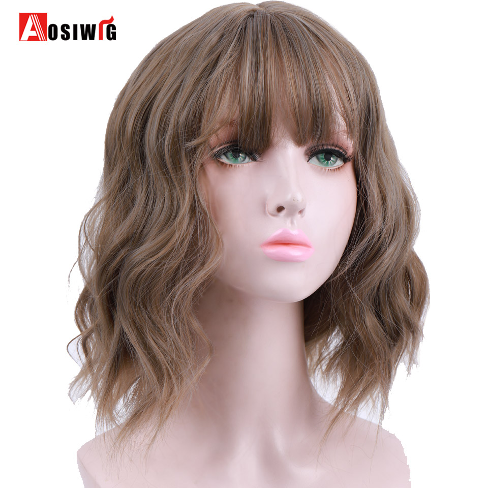AOSI WIG Short Water Wave Synthetic Bob Mix Purple Natural 8Colors Cosplay Wig For Women Heat Resistant Fiber Daily False Hair(China)