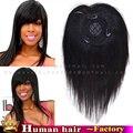 100% Бразильский HumanHair шелковый база кружева тупею frange Наклонный Fringe Клип в на Наращивание волос для женщин шиньоны Роза парик