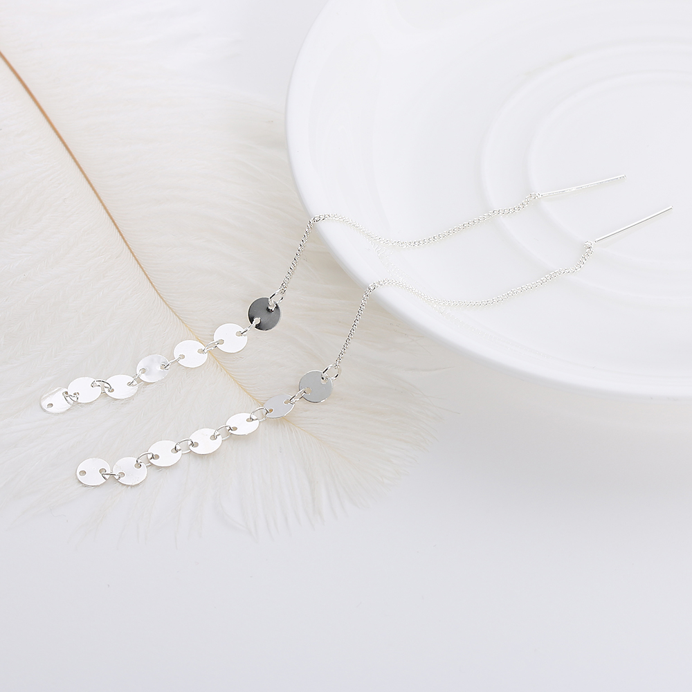 Jewelry Pendant Chain Long Earrings Tassel Gold//Silver Plated Small Sequins