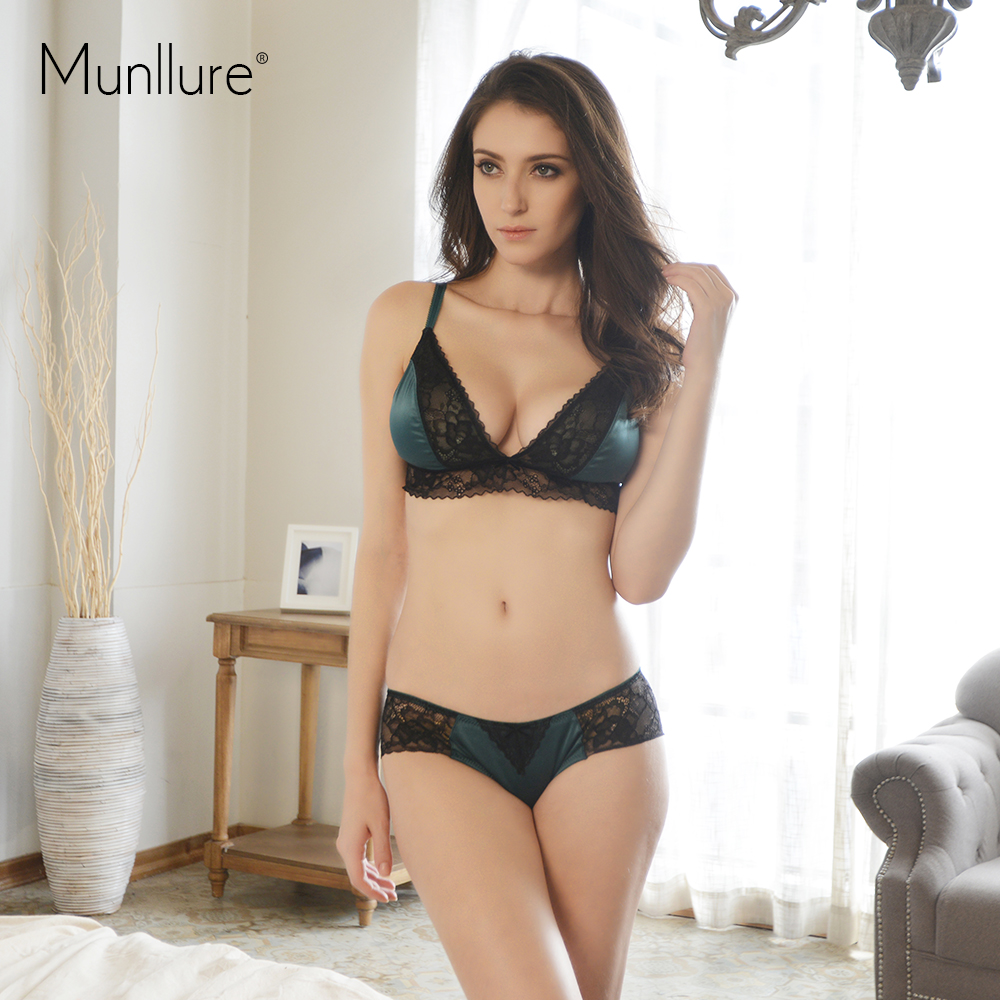 Munllure Ultra-thin Lingerie Bra Set Lace Lounge Bralette Underwear Women  Set Deep V Satin Panties Quarter Cup Push up bras f05a1f0e8