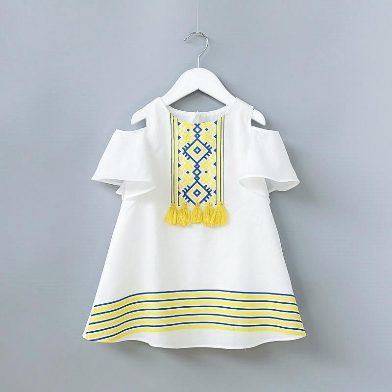Toddler Girl Dress 2018 Hot Sale Tassel White Dress Girls Clothing Vestido A-Line Mini Flare Sleeve Summer Sundress