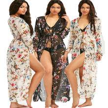 2019 Women Maxi Dress Beach Sheer Bikini Cover up Long dress Sexy Summer Boho Loose Swimwear